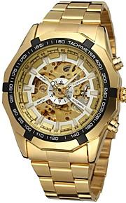 FORSINING 남성용 스켈레톤 시계 손목 시계 기계식 시계 오토메틱 셀프-윈딩 스테인레스 스틸 골드 중공 판화 아날로그 사치 패션 - 골드 화이트 블랙