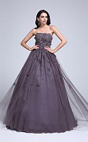 2813003e072 Βραδινή τουαλέτα Στράπλες Μακρύ Τούλι Επίσημο Βραδινό Φόρεμα με Χάντρες /  Διακοσμητικά Επιράμματα / Λουλούδι με