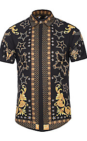 رجالي قميص نحيل ياقة كلاسيكية طباعة هندسي أسود XL / كم قصير / الصيف