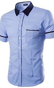 رجالي قطن قميص ياقة كلاسيكية لون سادة أبيض L / كم قصير / الصيف
