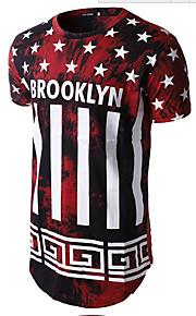 T-shirt Αθλητικά Ενεργό - Βαμβάκι Γράμμα Στρογγυλή Λαιμόκοψη Λεπτό Στάμπα Ρουμπίνι L / Κοντομάνικο / Καλοκαίρι / Μακρύ
