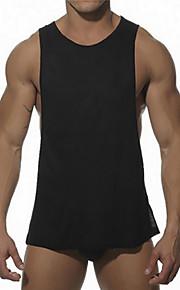 男性用 スポーツ / ビーチ タンクトップ 活発的 / ストリートファッション ラウンドネック ソリッド コットン / ノースリーブ