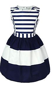 토들러 여아 단 일상 / 홀리데이 블루 & 화이트 줄무늬 민소매 면 드레스 네이비 블루