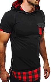 男性用 スポーツ - パッチワーク Tシャツ 活発的 フード付き スリム チェック コットン / 半袖