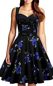 Women's Plus Size Going out Vintage A Line Dress - Floral Print