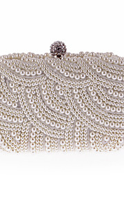 Women's Bags Polyester Evening Bag Pearl Detailing for Wedding Event/Party All Seasons White Black Beige