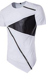 Hombre Activo Deportes Retazos - Algodón Camiseta, Escote Redondo Delgado Bloques Blanco y Negro Blanco L / Manga Corta / Verano