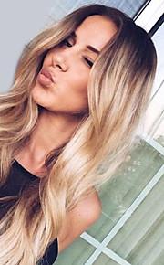 Syntetické paruky Přírodní vlny Kardashian Styl Střední část Bez krytky Paruka Black-Blonde Zlatavá Blonďatá Umělé vlasy Dámské Módní design / Módní / Svatba Black-Blonde / Tónované Paruka Dlouhý