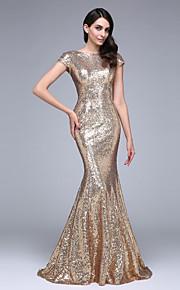 A sirena Bateau Neck Strascico di corte Con strass Serata formale Vestito con Con strass di TS Couture®