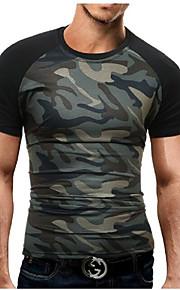 Ανδρικά Μεγάλα Μεγέθη T-shirt Αθλητικά Στρατιωτικό - Βαμβάκι καμουφλάζ Στρογγυλή Λαιμόκοψη Λεπτό Στάμπα Μαύρο XL / Κοντομάνικο / Καλοκαίρι