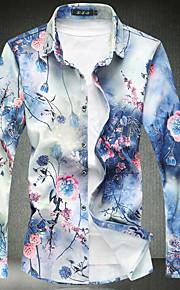 Hombre Vintage Estampado - Algodón Camisa, Cuello Inglés Delgado Floral Azul Piscina XXXXL / Manga Larga / Primavera / Otoño
