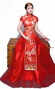 3fc4e58ee380 Νύφη Φορέματα Σύνολα Γυναικεία Γραμμή Α Ρούχο από μέσα Κινέζικο Στυλ  Κινεζική κόκκινο Cheongsam Πάρτι Αρραβώνων