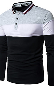 男性用 Polo 活発的 / ストリートファッション シャツカラー スリム カラーブロック ブラック&ホワイト / 長袖