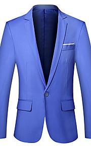 Муж. Офис Простой Весна / Осень Большие размеры Обычная Блейзер, Однотонный V-образный вырез Длинный рукав Хлопок Светло-синий / Хаки / Тёмно-синий XXL / XXXL / 4XL