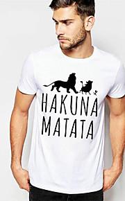 Hombre Básico Estampado - Algodón Camiseta, Escote Redondo Delgado Letra Blanco XL / Manga Corta / Verano