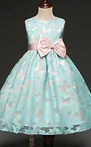 아동 여아 파티 버터플라이 리본 민소매 폴리에스테르 드레스 클로버