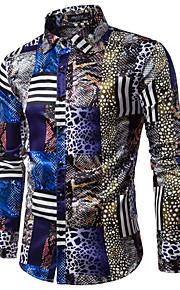 Heren Print Overhemd Luipaard Klassieke boord Slank / Lange mouw