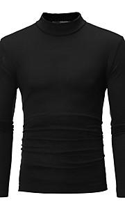 남성용 솔리드 터틀넥 슬림 플러스 사이즈 티셔츠, 베이직 면 다크 그레이 XL / 긴 소매 / 가을