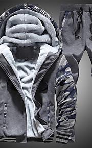 男性用 活発的 プラスサイズ スリム パンツ - カラーブロック ブルー / フード付き / スポーツ / 長袖 / 夏 / 秋