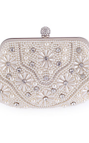 Women's Bags Polyester Evening Bag Appliques Crystal Detailing Pearl Detailing for Wedding Event/Party All Seasons White
