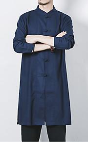 男性用 ベーシック プラスサイズ シャツ アジアン・エスニック スタンドカラー スリム ソリッド リネン / 長袖