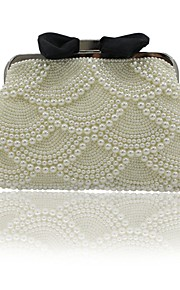 Women's Bags ABS+PC Evening Bag Beading Bow(s) Pearl Detailing Pocket for Event/Party Outdoor All Seasons Beige