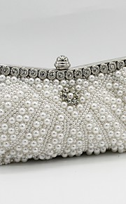 Women's Bags Satin Evening Bag Beading Crystal Detailing Pearl Detailing for Wedding Event/Party All Seasons Champagne White Black Beige