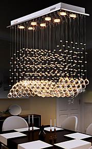 8 lumières Cristal Lustre Lumière dirigée vers le bas - Cristal, Ampoule incluse, Designers, 110-120V / 220-240V, Blanc Crème / Blanc