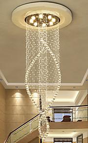 8 lumières Lustre Lumière dirigée vers le bas - Cristal, Ampoule incluse, Designers, 110-120V / 220-240V, Blanc Crème, Ampoule incluse