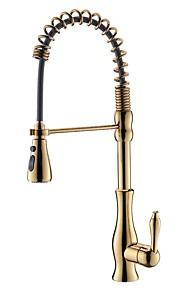 Художественный По центру Широко распространенный Керамический клапан Золотой, кухонный смеситель
