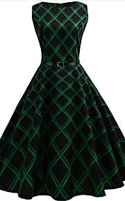 Mujer Noche Vintage Algodón Línea A Vestido - Estampado, Cuadrícula Hasta la Rodilla