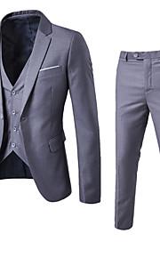 Hombre Trabajo Regular trajes, Un Color Cuello Camisero Manga Larga Algodón / Poliéster Wine / Azul claro / Azul Real 4XL / XXXXXL / XXXXXXL / Delgado