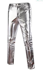 Erkek Abartılı Pamuklu İnce Chinos Pantolon - Solid Altın / Bahar / Sonbahar