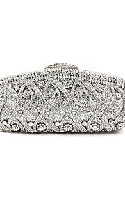 Women's Bags Metal Evening Bag Crystal Detailing Flower for Wedding Event/Party All Seasons Silver
