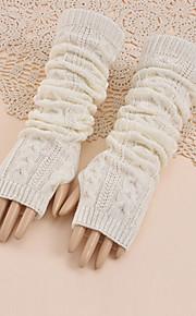 30 Γυναικεία Μονόχρωμο Μέχρι τον αγκώνα Μισά Δάχτυλα Γάντια   Χειμώνας 3b1422a56c7