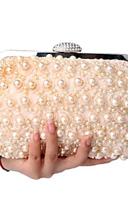 Women's Bags Polyester Clutch Pearl Detailing for Event/Party All Seasons Champagne White Black
