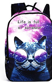 Children's Bags Polyester Backpack Pattern / Print Zipper for Casual Outdoor All Seasons White Purple