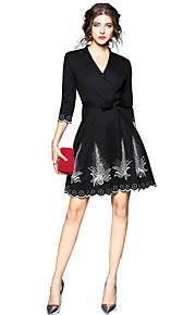 מעל הברך אחיד - שמלה סווינג יום יומי סגנון רחוב ליציאה בגדי ריקוד נשים