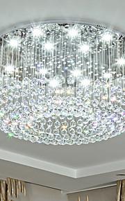 Cristal Lustre Lumière dirigée vers le bas - Cristal, Ampoule incluse, Designers, 110-120V / 220-240V, Blanc Crème / Blanc Neige, Ampoule