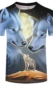 Hombre Tallas Grandes Estampado Camiseta, Escote Redondo Bloques Lobo Negro XXXXL / Manga Corta / Verano
