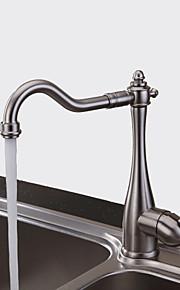 Традиционный Бар / Prep Настольная установка Керамический клапан Одно отверстие Одной ручкой одно отверстие Матовый никель, кухонный