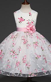 아동 여아 단 파티 플로럴 멀티 레이어 / 자카드 민소매 드레스 화이트