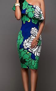 כתפיה אחת מותניים גבוהים גב חשוף דפוס, צמחים - שמלה צינור שרוול התלקחות בוהו בגדי ריקוד נשים