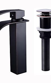 バスルームのシンクの蛇口 - 滝状吐水タイプ オイルブロンズ ペインティング ブラック センターセット シングルハンドルつの穴
