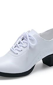 Mujer Zapatillas de Baile Cuero Tacones Alto Entrenamiento Al aire libre Tacón Bajo Blanco Negro Rojo 1 - 1 3/4inch Personalizables