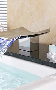 욕실 싱크 수도꼭지 - 워터팔 와이드 스프레드 크롬 데크 마운티드 두 핸들 세 개의 구멍