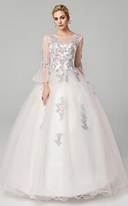 e42cdc90fcb Βραδινή τουαλέτα Illusion Seckline Μακρύ Τούλι / Φλοράλ δαντέλα See Through Επίσημο  Βραδινό Φόρεμα με Διακοσμητικά