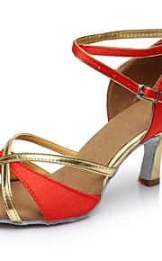 Mujer Latino Semicuero Satén Sandalia Tacones Alto Fiesta Interior Corte Tacón Personalizado Rojo 2 - 2 3/4inch Personalizables