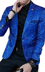 Hombre Fiesta / Trabajo Regular Blazer, Un Color Escote en Pico Manga Larga Poliéster Negro / Azul Real XL / XXL / XXXL