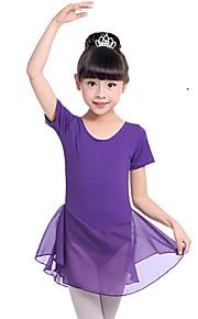 Ballet Vestidos Chica Entrenamiento Rendimiento Algodón Lazo de satén Manga Corta Cintura Media Vestido